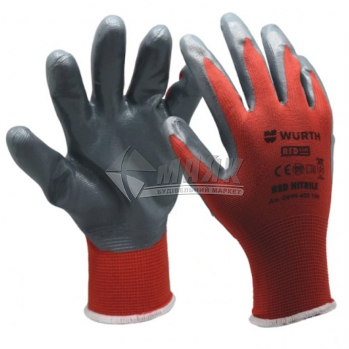 Рукавиці трикотажні робочі захисні WURTH RED NITRILE 0899403110 XL (10) покриття нітрилове