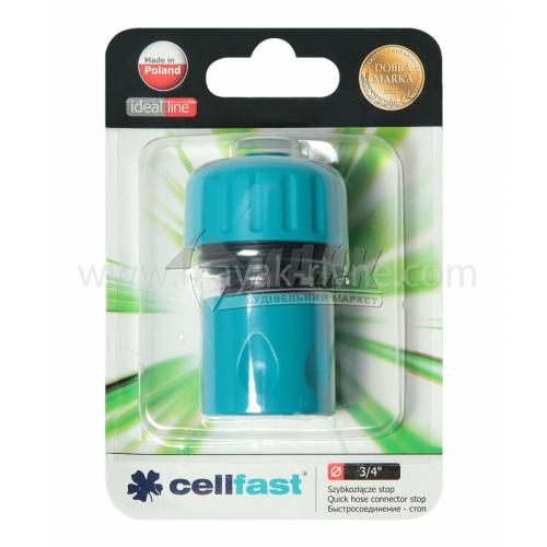 """Конектор пластиковий з аквастопом Cellfast 3/4"""""""