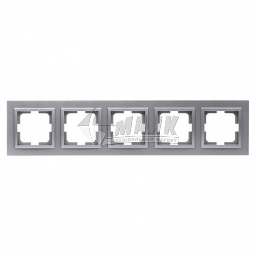 Рамка п'ятимісна горизонтальна Mono Electric DESPINA срібло