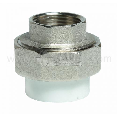 """З'єднувач поліпропіленовий роз'ємний VALTEC 25 мм х 3/4"""" внутрішня різьба білий"""