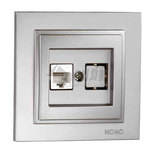 Розетка комп'ютерна подвійна Mono Electric DESPINA срібло