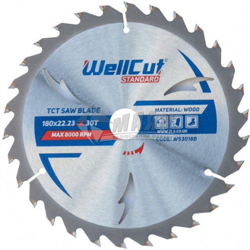 Диск пиляльний WellCut Standard 180×22,23 мм 30Т