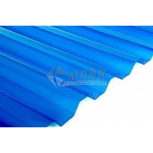 Лист ПВХ Salux WHR 1800×900×0,8 мм синя прозора трапеція