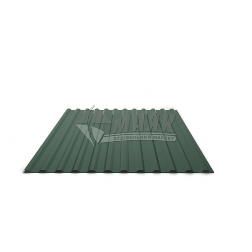 Лист профільний Т12 330×1160×0,3 мм RAL 6005 зелений