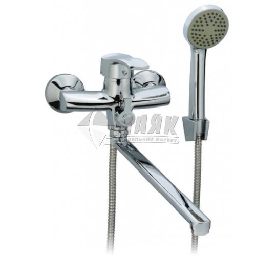Змішувач для ванни ZERIX 1Р JXD6 279 з душовим комплектом одноважільний настінний довгий гусак