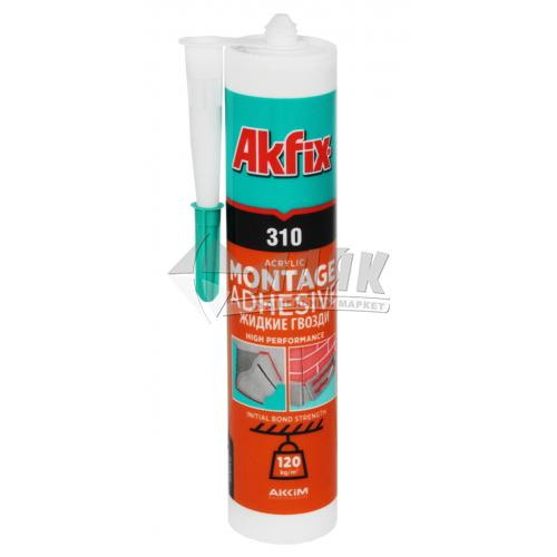 Клей монтажний (рідкі цвяхи) акриловий Akfix 310 310 мл