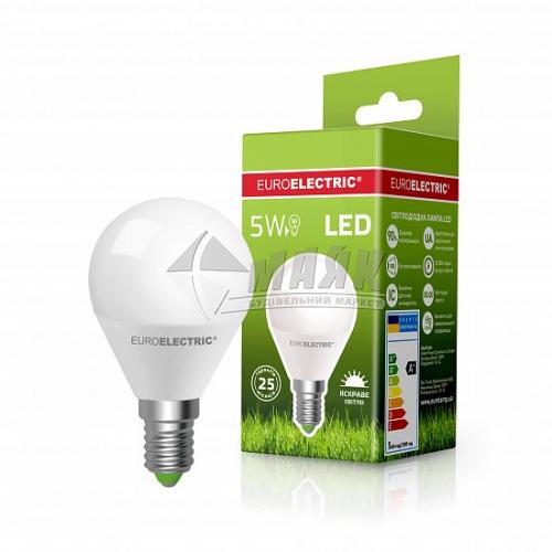 Лампа світлодіодна куля EUROELECTRIC 5Вт Е14 G45/Р45 4000°К (LED-G45-05144(ЕЕ))
