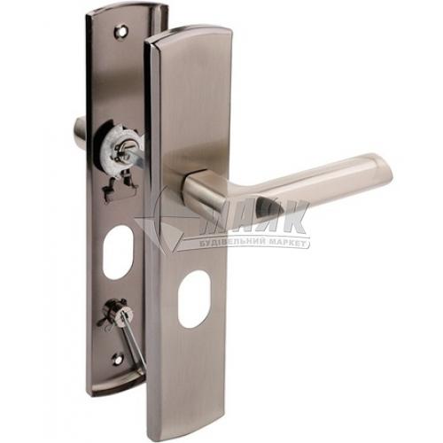 Ручки дверні на планці для вхідних дверей LINDE MD-1000R SN нікель матовий