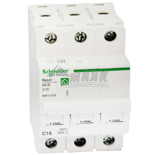 Вимикач автоматичний Schneider RESI9 3Р 16А 6кА С