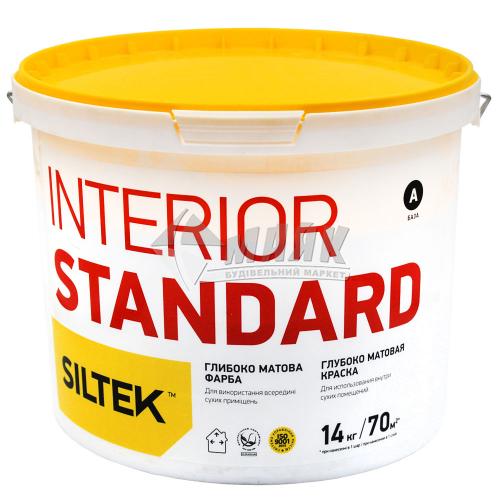 Фарба інтер'єрна Siltek Interior Standart база А латексна 14 кг біла глибокоматова