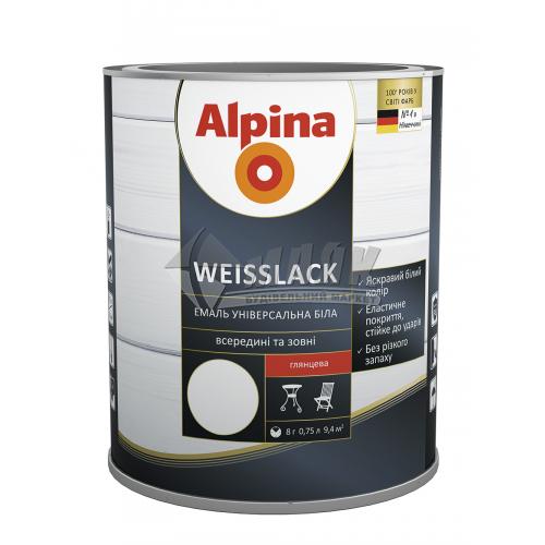 Емаль алкідна ALPINA WEISSLACK 0,75 л біла глянцева