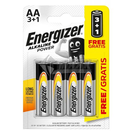 Батарейки ENERGIZER AA Alkaline Power лужна 3+1 шт