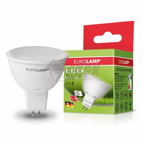 Лампа світлодіодна точкова EUROLAMP 3Вт GU5.3/G5.3 MR16 4000°К (LED-SMD-03534(D))