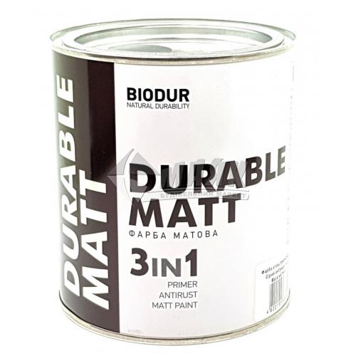 Емаль антикорозійна Biodur 3в1 0,7 л 216 сірий антрацит матова