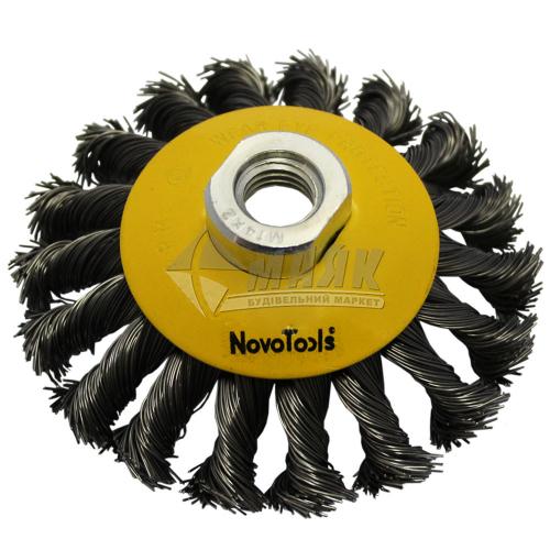Щітка дротяна конусна NovoTools 100 мм плетений сталевий дріт