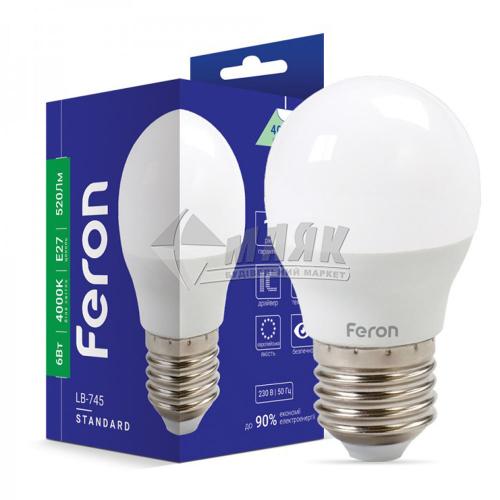 Лампа світлодіодна куля Feron 6Вт Е27 G45/Р45 4000°К (LB-745) 25675