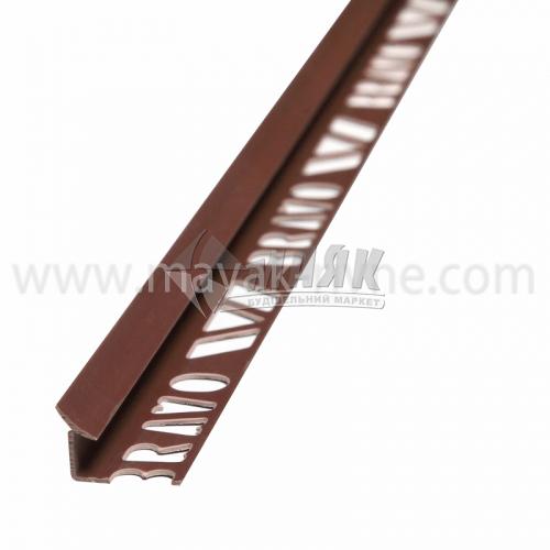 Кутник для облицювальної плитки ПВХ A внутрішній 8 мм 2,5 м 04 світло-коричневий