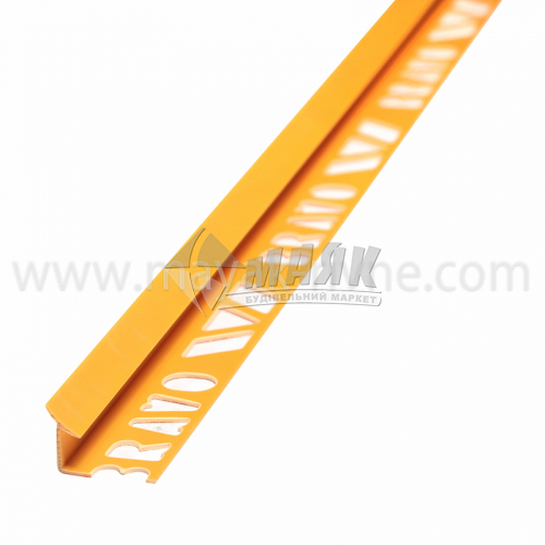 Кутник для облицювальної плитки ПВХ A внутрішній 8 мм 2,5 м 19 жовтий
