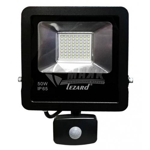 Прожектор світлодіодний з датчиком руху Lezard 50Вт чорний