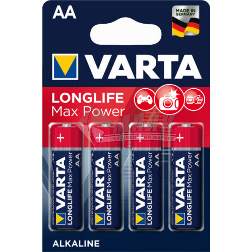 Батарейки VARTA Longlife Max Power AA Alkaline лужні 4 шт