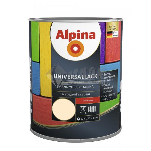 Емаль алкідна ALPINA UNIVERSALLACK 0,75 л слонова кістка глянцева