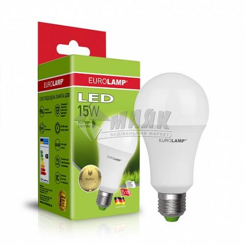 Лампа світлодіодна класична (груша) EUROLAMP 15Вт Е27 А70 4000°К (LED-A70-15274(P))