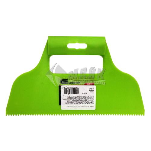 Шпатель зубчастий для клею СИБРТЕХ 230 мм зуб 2×2 мм пластиковий