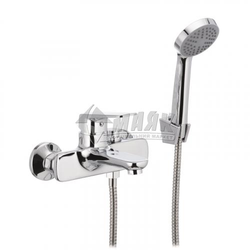 Змішувач для ванни MIXXUS OREGON 009 BUTTON з душовим комплектом одноважільний настінний короткий гусак