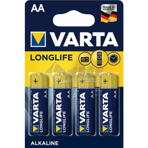 Батарейки VARTA Longlife AA Alkaline лужні 4 шт