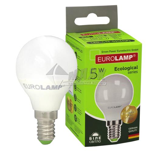 Лампа світлодіодна куля EUROLAMP 5Вт Е14 G45/Р45 4000°К (LED-G45-05144(Р))