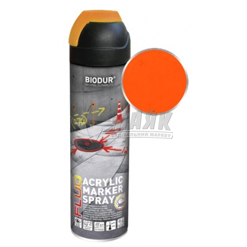 Емаль аерозольна Biodur Флуоресцентна для сигнального маркування 500 мл помаранчева
