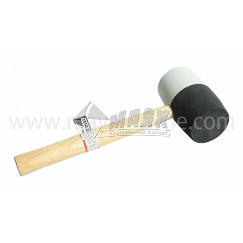 Киянка гумова YATO 72 мм 980 г круглий бойок дерев'яна ручка чорна/біла